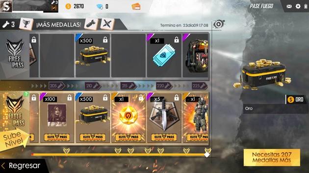 Free Fire gasta medallas explosivas y desbloquea elementos en Fire Pass