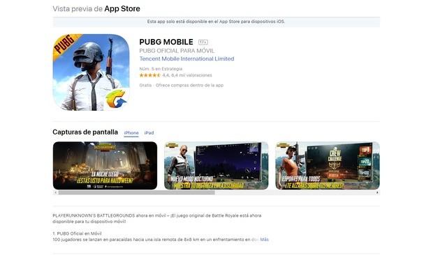 PUBG versión iOS