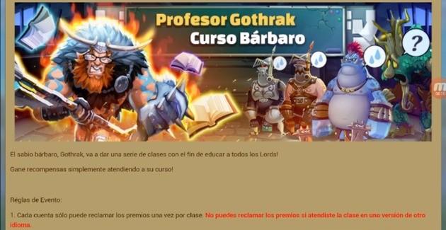 Lords Mobile Curso Bárbaro Profesor Gothrak