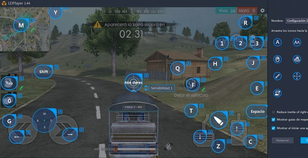 Free Fire Control vehículos emulador LDPlayer