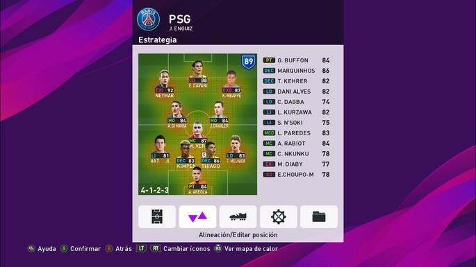 Define estrategia y tácticas del equipo en Liga Máster PES 2020