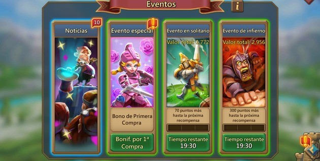 Lords Mobile Eventos solo e infierno