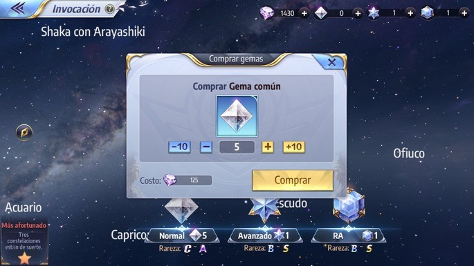 Guardar diamantes para invocar caballeros Saint Seiya Awakening