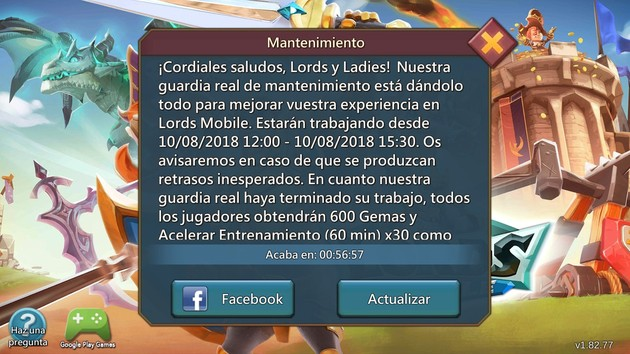 Lords Mobile Mantenimiento