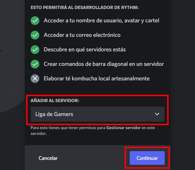 Añadir y autorizar el bot al servidor de Discord
