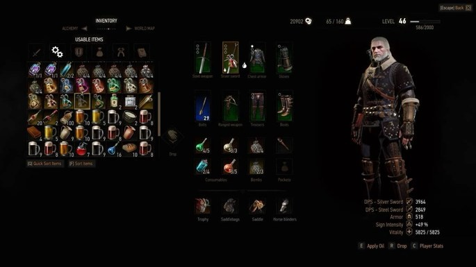 Aplicar aceites automáticamente The Witcher 3 mods