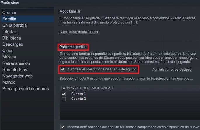 Compartir juegos en Steam - Paso 2