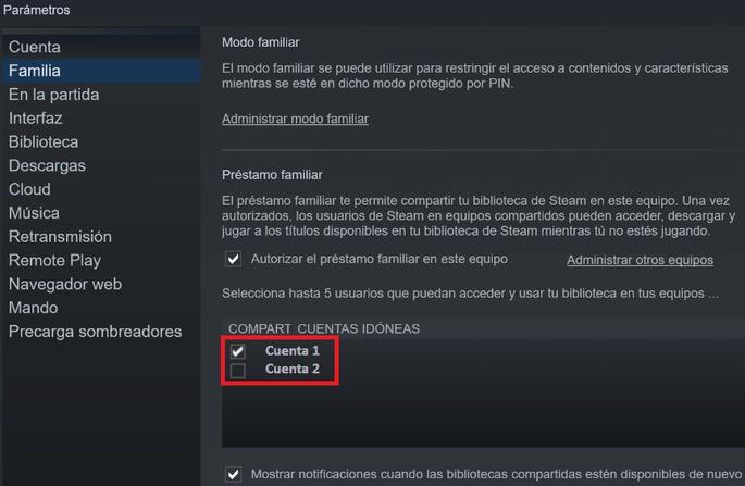 Compartir juegos en Steam - Paso 4