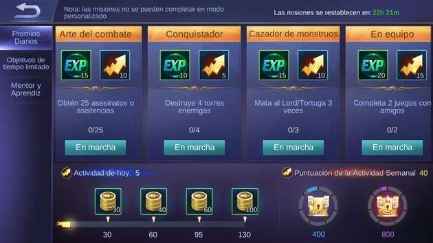 Mobile Legends completar misiones diarias