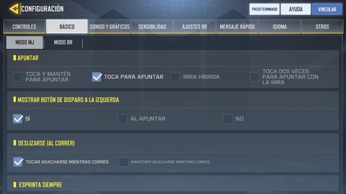 Configuración básica - Call of Duty Mobile