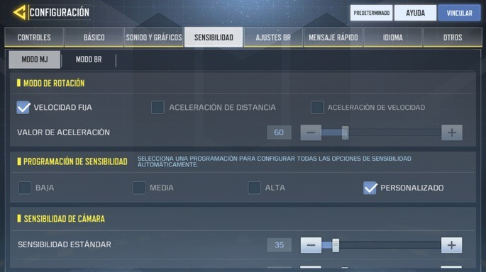 Configuración sensibilidad - Call of Duty Mobile