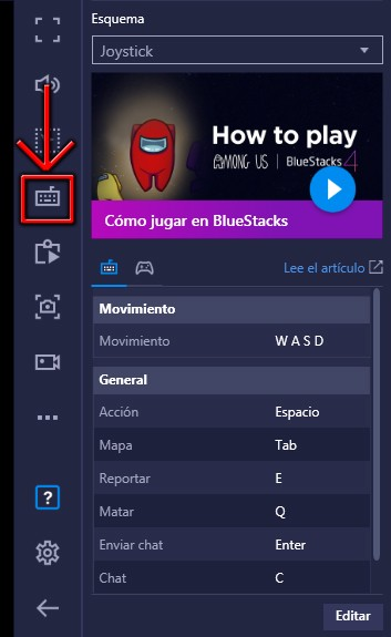 Configurar controles Among Us BlueStacks