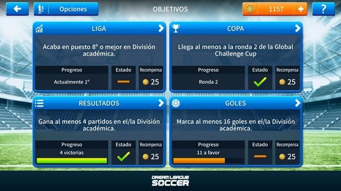 Cumplir los objetivos diarios en Dream League Soccer