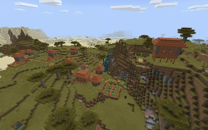 Diamantes debajo de un pueblo bonito - Semilla de Minecraft PE