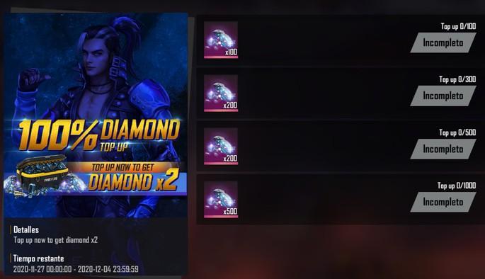 Free Fire eventos de diamantes