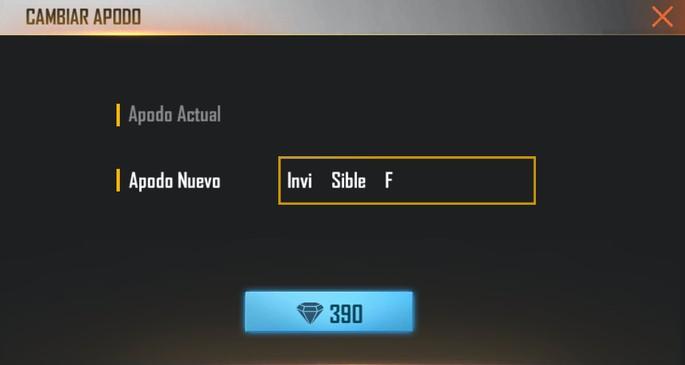 Espacio y nombre invisible Free Fire