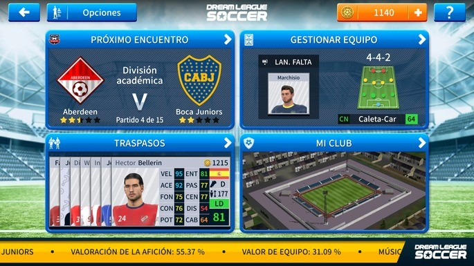 Gestiona jugadores y tu club Dream League Soccer