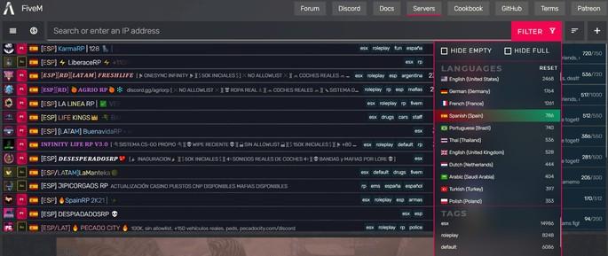 FiveM buscar servidores GTA Roleplay