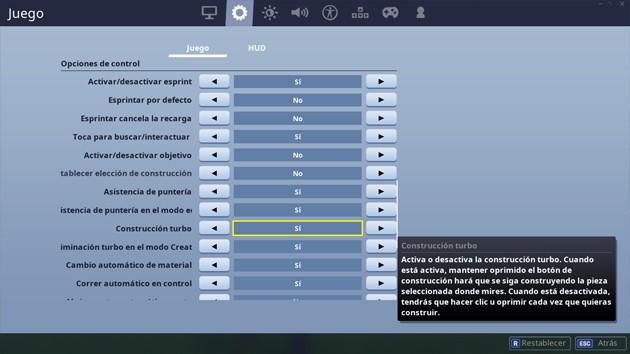Fortnite: opciones en construcción