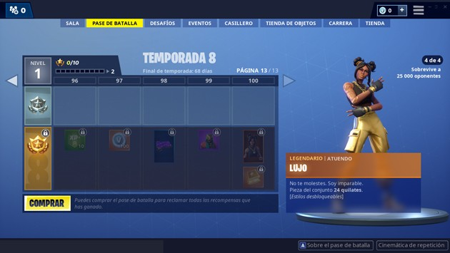 Fortnite - Temporada 8: atuendo de lujo