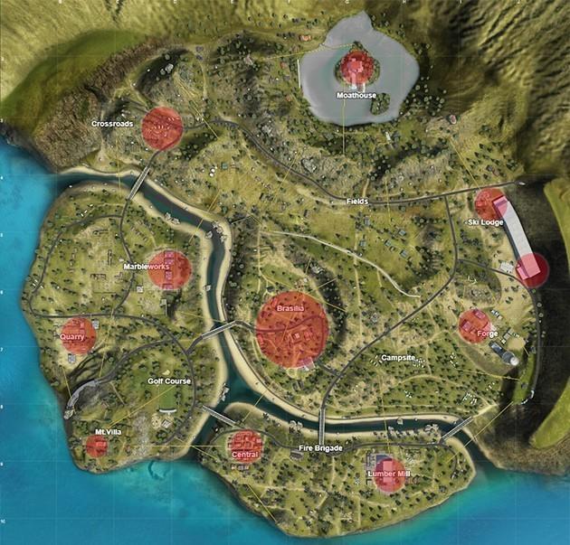 Free Fire - Purgatorio: mapa de lugares principales