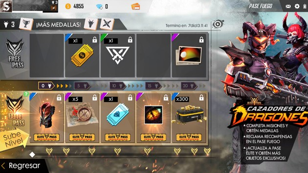 Free Fire - Recompensas del Fire Pass