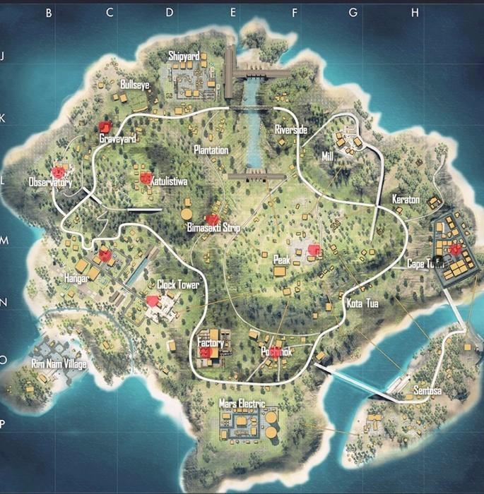 Mapa Bermuda con los puntos de aparición del Trono de la Cosecha - Free Fire