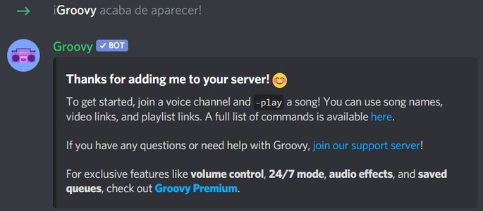 Instrucciones Groovy Bot de Música