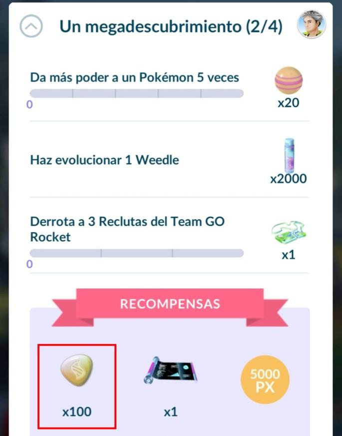 Mega Energía como recompensa de investigación especial - Pokémon GO
