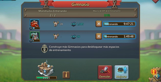 Lords Mobile: Gimnasio