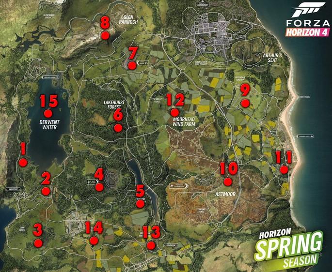 Autos abandonados de Forza Horizon 4 - Sus localizaciones en el mapa
