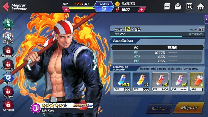 The King of Fighters ALLSTAR mejorar luchadores