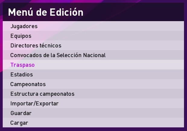 Option File PES 2020 Menú de Edición