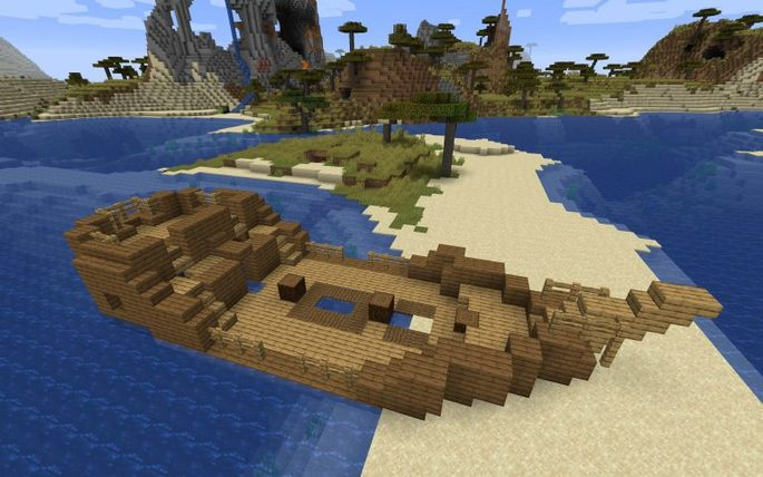 Pueblo pequeño, pantano y barco abandonado - Semilla de Minecraft