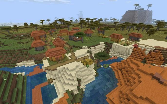 Pueblo y pozo de mina - Semilla de Minecraft PE