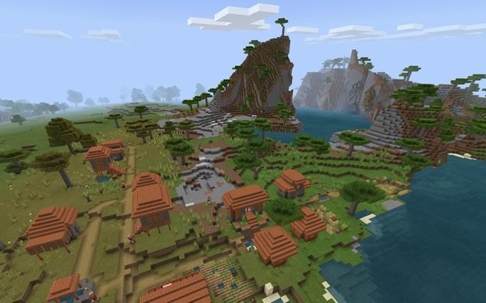 Pueblos, montañas y terrenos en bioma sabana - Semilla de Minecraft PE