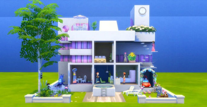 Desafío casa de muñecas como reto de construcción para Los Sims 4