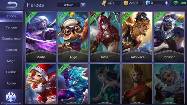 Mobile Legends Héroes gratuitos