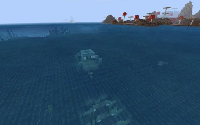 Ruinas sumergidas e isla champiñón - Semilla de Minecraft PE