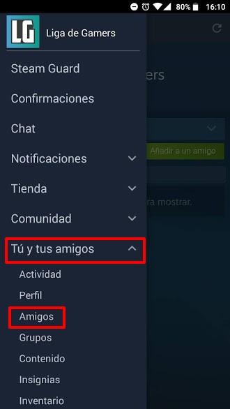 Steam celular entrar en sección Amigos