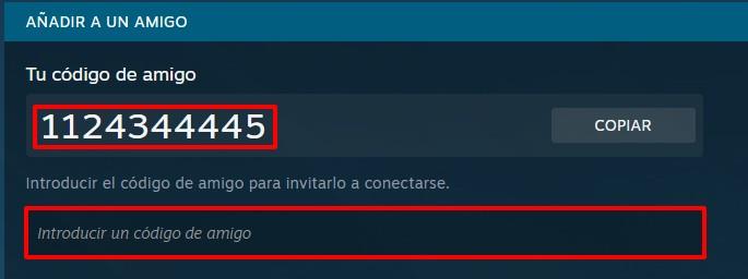 Steam PC agregar amigo mediante código de amigo