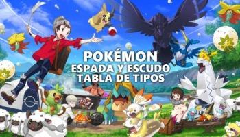 Tabla de tipos para Pokémon Espada y Escudo
