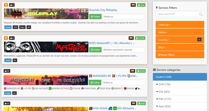 TrackyServer buscar servidores GTA Roleplay